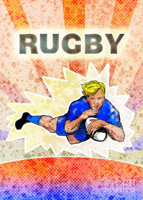 Rugby Greeting Card featuring the digital art Rugby Player Diving To Score A Try by Aloysius Patrimonio