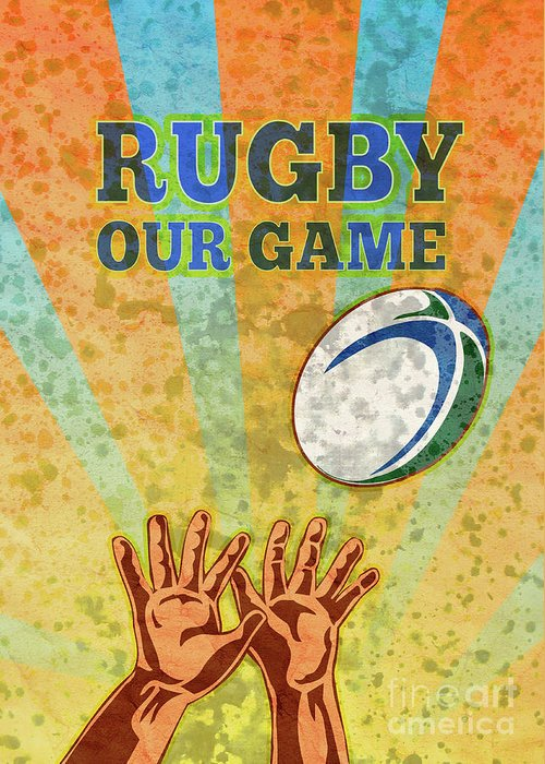 Rugby Greeting Card featuring the digital art Rugby Player Hands Catching Ball by Aloysius Patrimonio