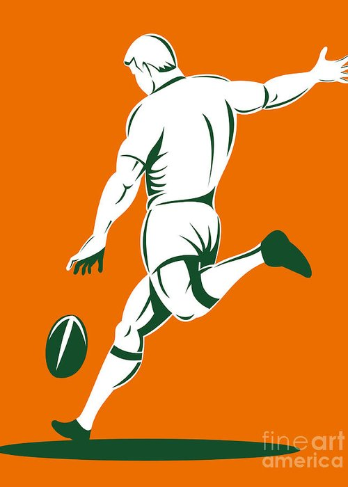 Illustration Greeting Card featuring the digital art Rugby Player Kicking by Aloysius Patrimonio