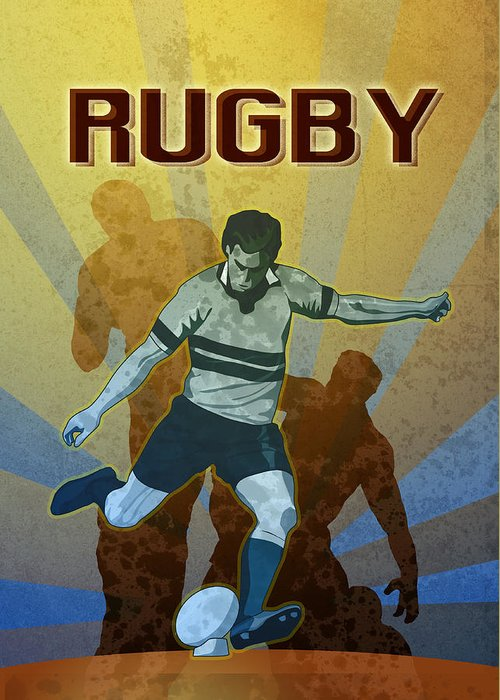 Rugby Greeting Card featuring the digital art Rugby Player Kicking The Ball by Aloysius Patrimonio