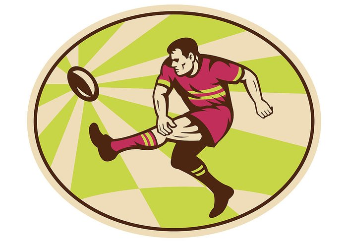 Rugby Greeting Card featuring the digital art Rugby Player Kicking The Ball Retro by Aloysius Patrimonio