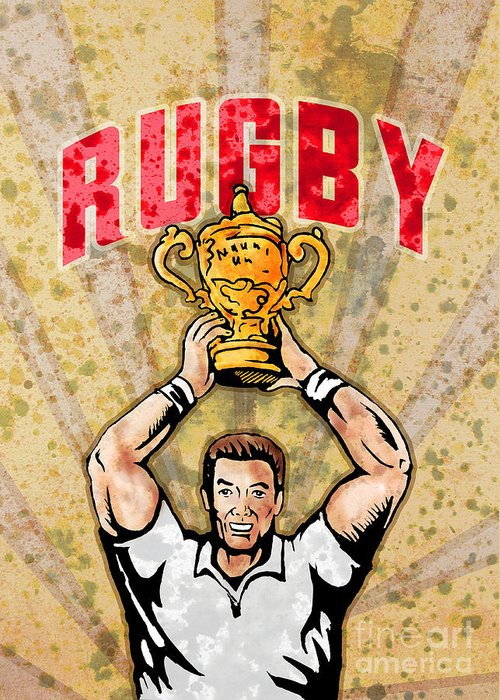 Rugby Greeting Card featuring the digital art Rugby Player Raising Championship World Cup Trophy by Aloysius Patrimonio