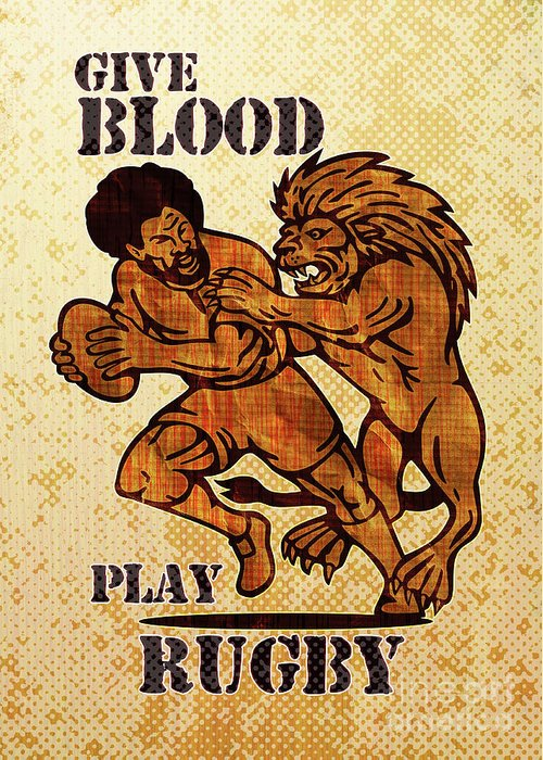 Rugby Greeting Card featuring the digital art Rugby Player Running With Ball Attack By Lion by Aloysius Patrimonio