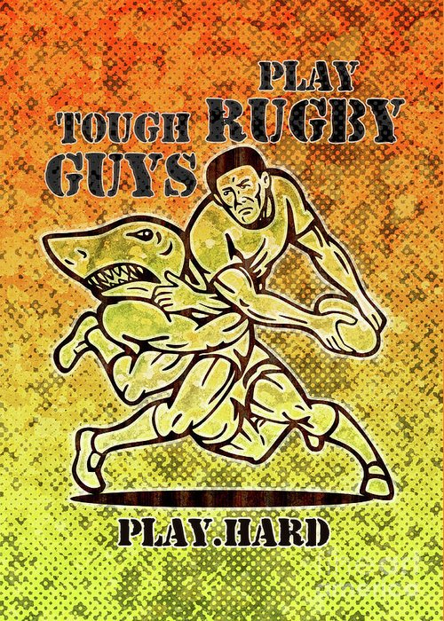 Rugby Greeting Card featuring the digital art Rugby Player Running With Ball Attack By Shark by Aloysius Patrimonio