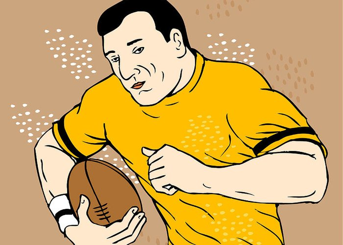 Rugby Greeting Card featuring the digital art Rugby Player Runningwith The Ball by Aloysius Patrimonio