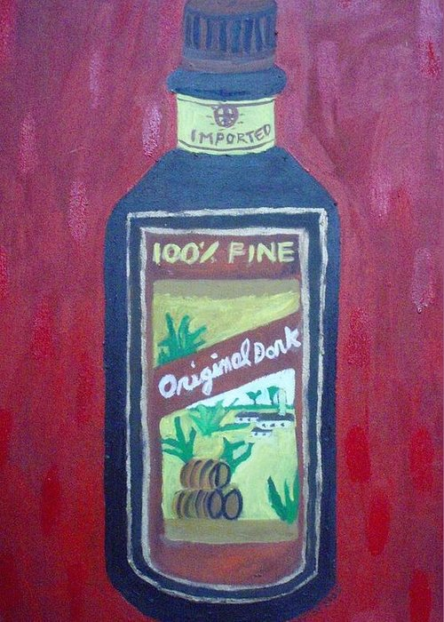 Oil On Canvas Greeting Card featuring the painting Rum by Patrice Tullai