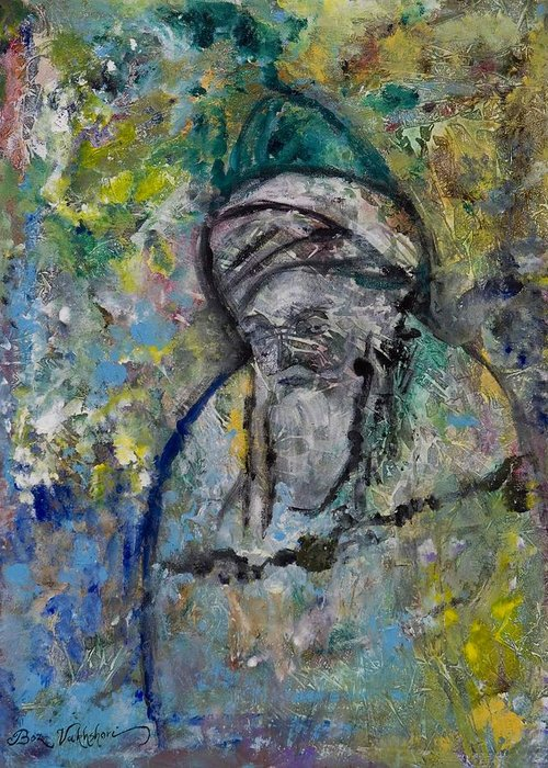 Figurative Greeting Card featuring the painting Rumi by Boz Vakhshori