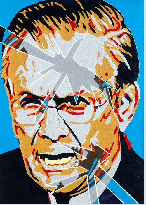 Politics Greeting Card featuring the painting Rumsfeld by Dennis McCann