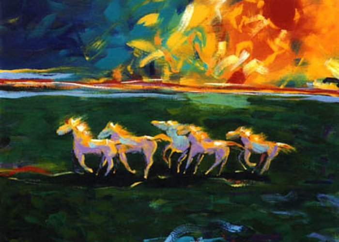 Abstract Horse Greeting Card featuring the painting Run From The Sun by Lance Headlee