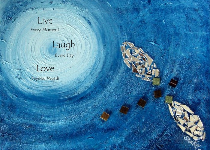 Dragonfly Greeting Card featuring the painting 'Runaway' with Live Love Laugh Quote by Shannon Keavy