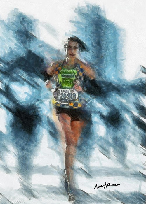 Portrait Greeting Card featuring the painting Runner by Anthony Caruso