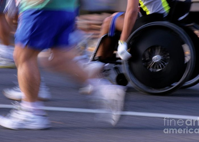 Adult Greeting Card featuring the photograph Runners And Disabled People In Wheelchairs Racing Together by Sami Sarkis