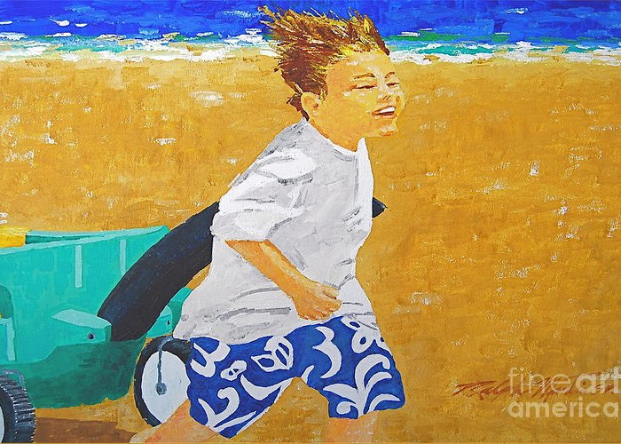 Children Greeting Card featuring the painting Running Against The Wind by Art Mantia