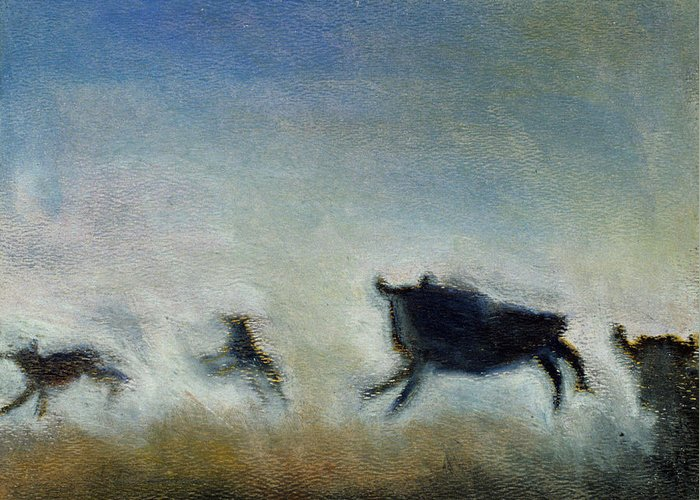 Bison Greeting Card featuring the painting Running Bison by Ruth Sharton