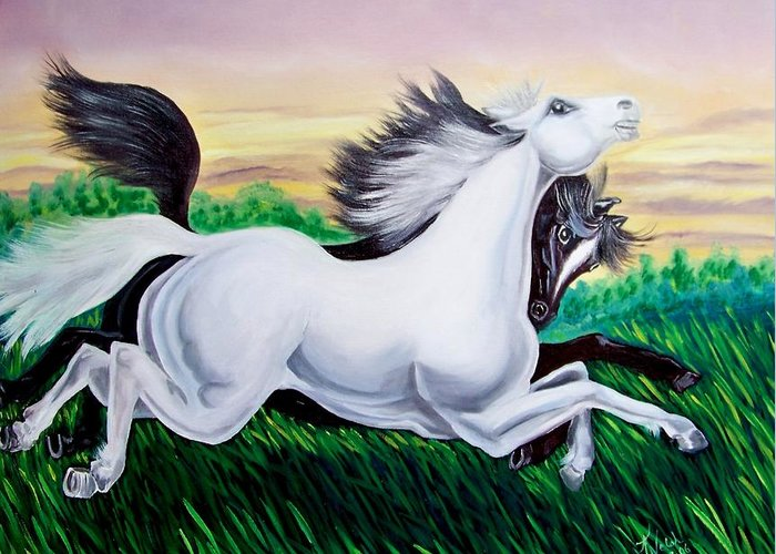 Horses Greeting Card featuring the painting Running Free by Kathern Welsh