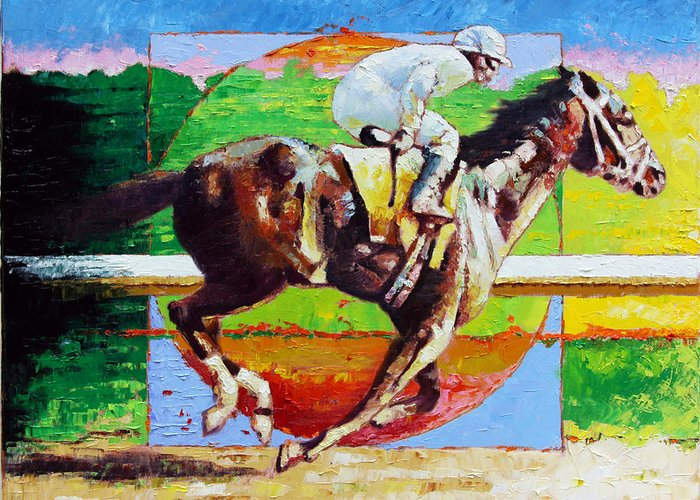 Horse Greeting Card featuring the painting Running from the Darkness by John Lautermilch
