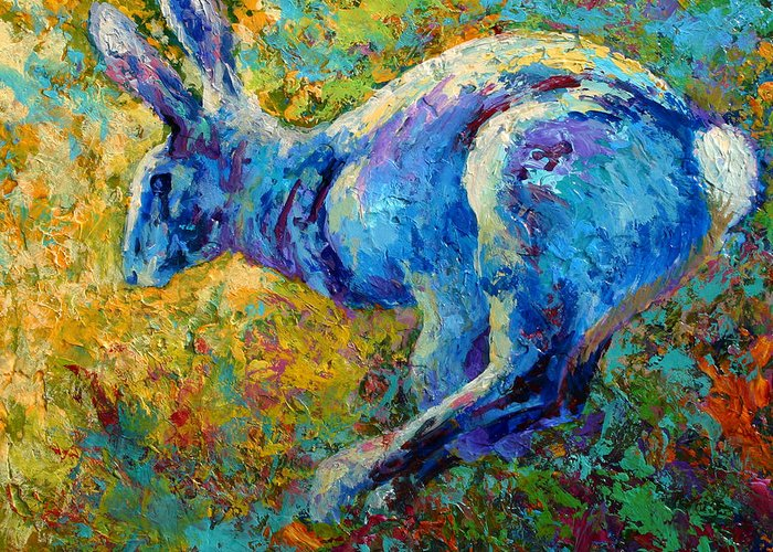 Rabbit Greeting Card featuring the painting Running Hare by Marion Rose