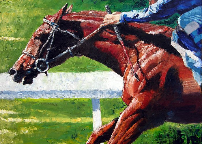 Horse Race Greeting Card featuring the painting Running Towards The Light by John Lautermilch