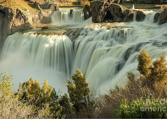 Waterfall Greeting Card featuring the photograph Runoff at Shoshone Falls by Dennis Hammer