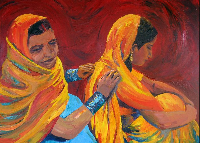 India Greeting Card featuring the painting Ruppa by Art Nomad Sandra Hansen