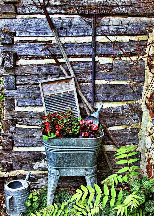 Creative Greeting Card featuring the photograph Rural American Graden Scene by Linda Phelps