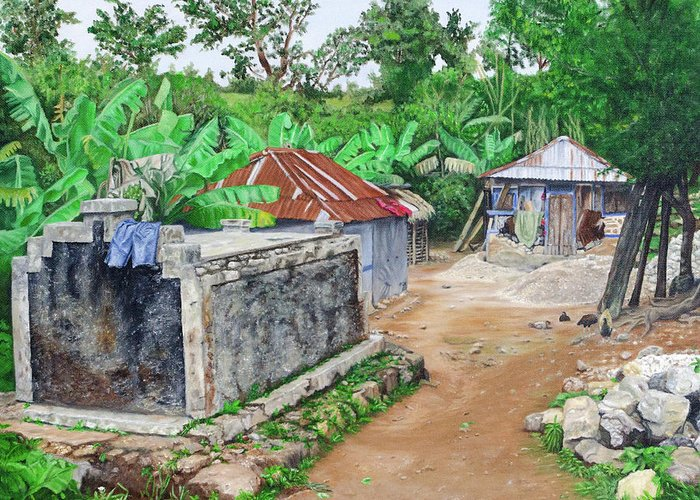 Haiti Greeting Card featuring the painting Rural Haiti - A Study In Poignancy by Vicki VanDeBerghe
