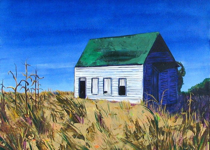 Landscape Greeting Card featuring the painting Rural House by Rollin Kocsis