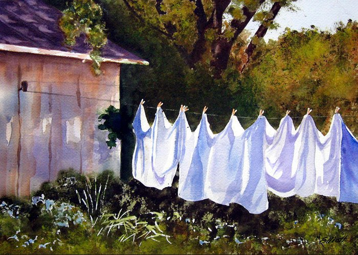 Country Greeting Card featuring the painting Rural Laundromat by Marsha Elliott