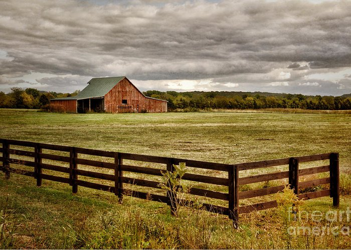 Red Barn Greeting Card featuring the photograph Rural Tennessee Red Barn by Cheryl Davis