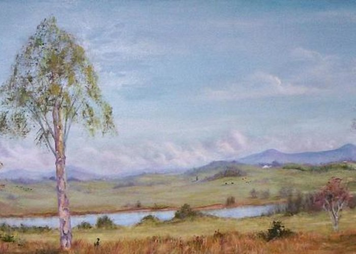 Landscape Greeting Card featuring the painting Rural Vista by Rita Palm