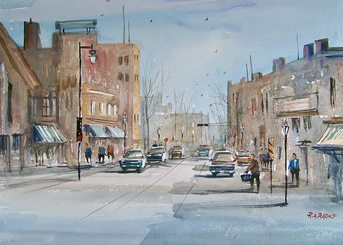 Street Scene Greeting Card featuring the painting Rush Hour - Fond Du Lac by Ryan Radke