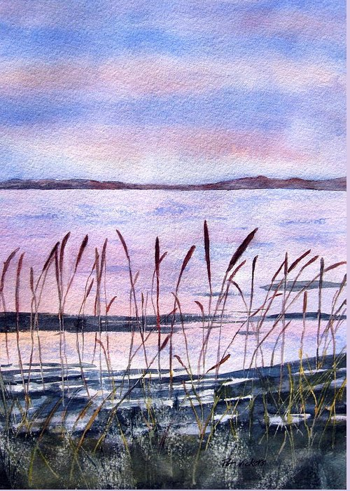 Nature Bulrushes Greeting Card featuring the painting Rushes by Pat Vickers