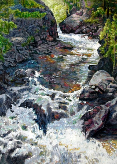 A Fast Moving Stream In Colorado Rocky Mountains Greeting Card featuring the painting Rushing Waters by John Lautermilch