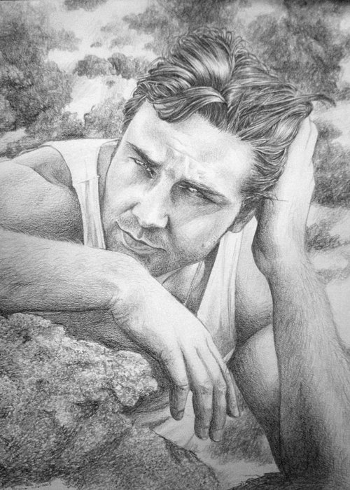 Russell Greeting Card featuring the drawing Russell Crowe by Jennifer Bryant