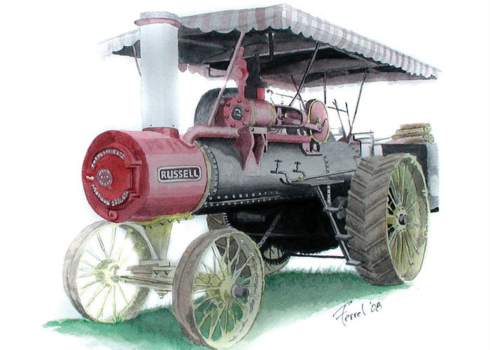 Tractor Greeting Card featuring the painting Russell Steam Tractor by Ferrel Cordle