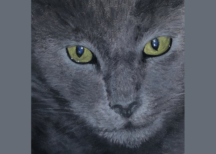 Russian Greeting Card featuring the pastel Russian Blue by Louise Andersen