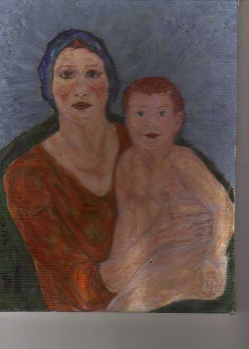Strong Greeting Card featuring the painting Russian Mother With Child by Nancy Caccioppo