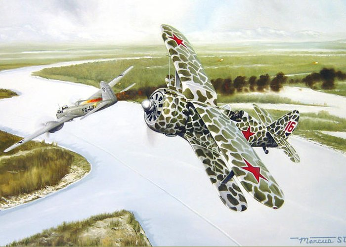 Aviation Greeting Card featuring the painting Russian Roulette by Marc Stewart