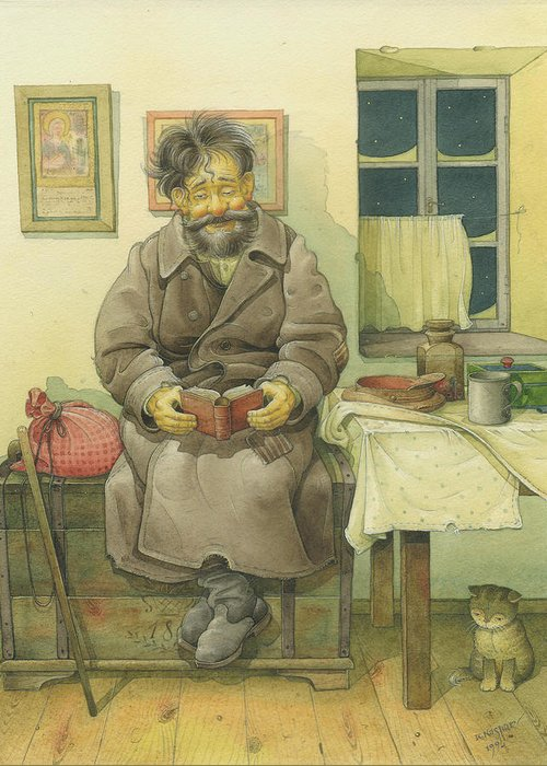 Russian Winter Greeting Card featuring the painting Russian Scene 03 by Kestutis Kasparavicius