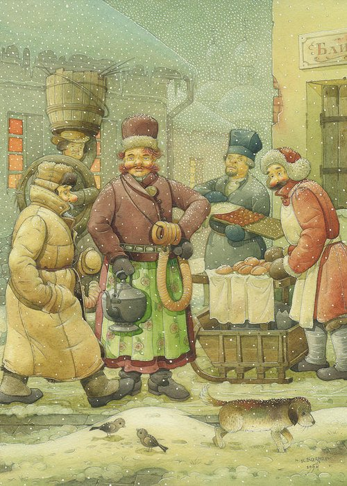 Russian Winter Greeting Card featuring the painting Russian Scene 04 by Kestutis Kasparavicius