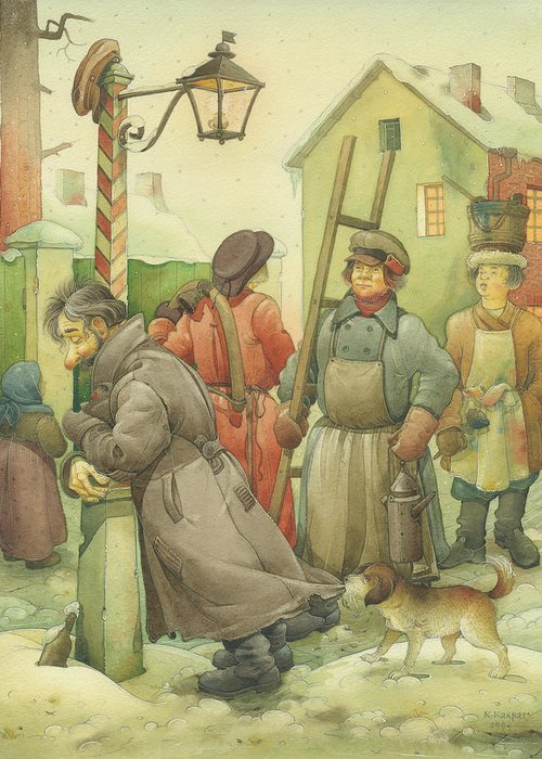 Russian Winter Greeting Card featuring the painting Russian Scene 06 by Kestutis Kasparavicius