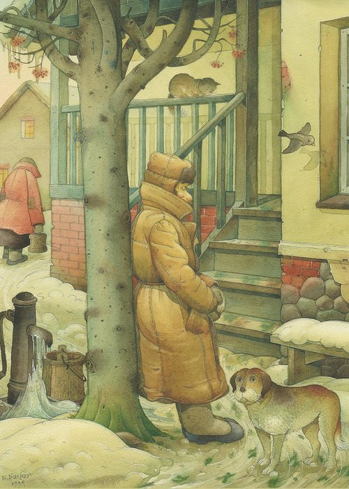 Russian Winter Greeting Card featuring the painting Russian Scene 10 by Kestutis Kasparavicius