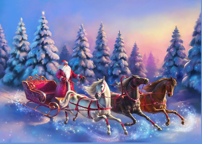 New Year Greeting Card featuring the painting Russian Three-horse by Eldar Zakirov