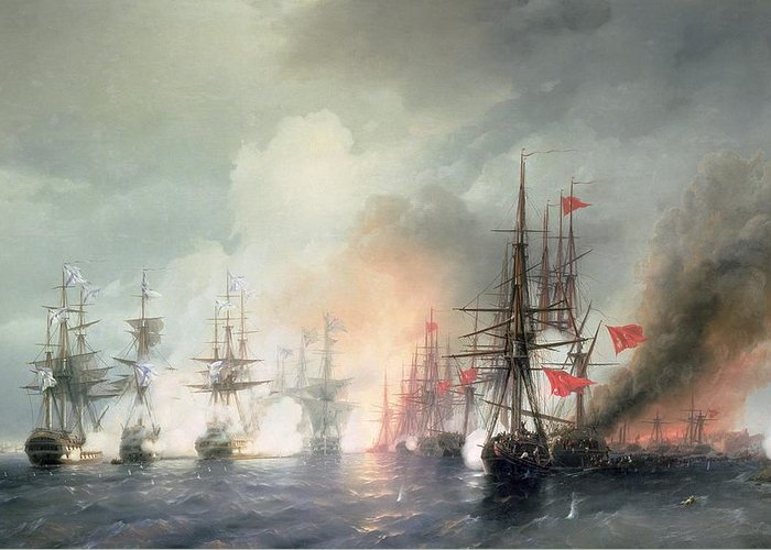 Russian-turkish Greeting Card featuring the painting Russian Turkish Sea Battle Of Sinop by Ivan Konstantinovich Aivazovsky