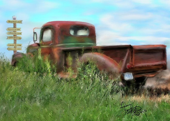 Rusted Out Trucks Greeting Card featuring the painting Rusted Not Retired by Colleen Taylor