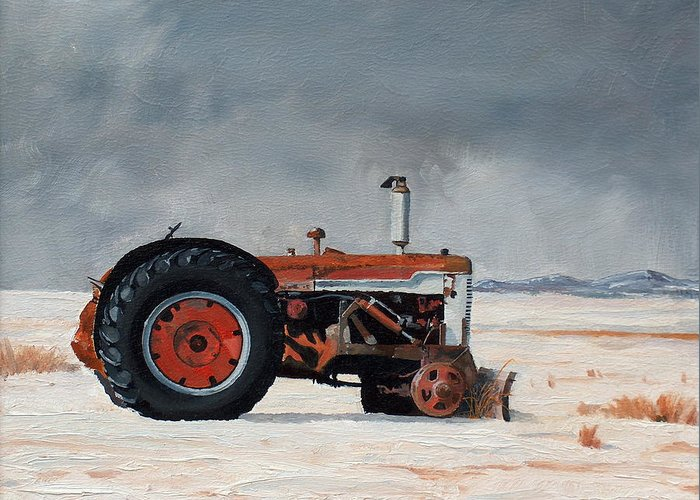 Tractor Greeting Card featuring the painting Rusted Sentinel by Greg Clibon