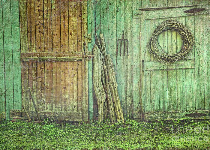 Barn Greeting Card featuring the photograph Rustic Barn Doors With Grunge Texture by Sandra Cunningham