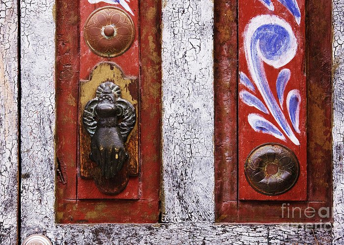 Architectural Detail Greeting Card featuring the photograph Rustic Door by Jeremy Woodhouse