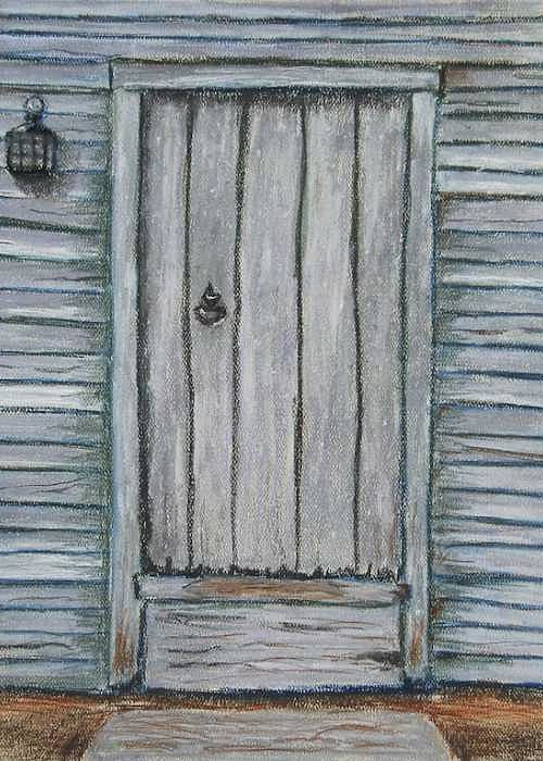 Pastel Greeting Card featuring the pastel Rustic Door by Marina Garrison