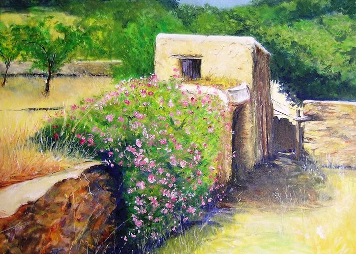 Bucolic Greeting Card featuring the painting Rustic Landscape by Lizzy Forrester